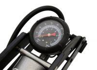 Hustilka nožní a manometrem jednopístová - stříbrná Compas