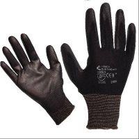 Pracovní rukavice BUNTING - černé, vel. 8  povrstvené